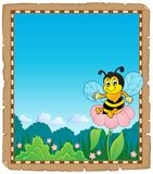 Parchment with happy bee theme 2 Stock Image