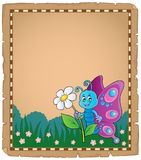 Parchment with happy butterfly theme 3 Stock Photography
