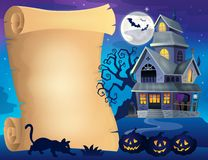Parchment with haunted house thematics 2 Stock Image