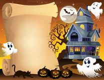 Parchment with haunted house thematics 3 Royalty Free Stock Photo