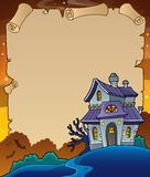 Parchment with haunted house thematics 4 Stock Photos