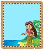 Parchment with Hawaiian theme dancer Stock Image