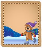 Parchment with ice skating bear Royalty Free Stock Image