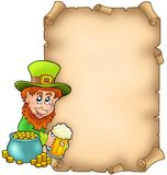 Parchment with leprechaun and gold Royalty Free Stock Photos