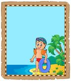 Parchment with little boy swimmer Royalty Free Stock Photography