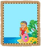 Parchment with little girl swimmer Royalty Free Stock Image