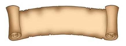 Parchment long 1. Color illustration of old brown parchment (banner Royalty Free Stock Image