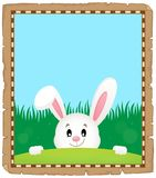 Parchment with lurking Easter bunny 3 Royalty Free Stock Images