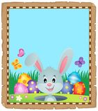 Parchment with lurking Easter bunny 1 Stock Image