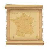 Parchment with map of France Royalty Free Stock Photos