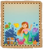 Parchment with mermaid topic 4. Eps10 vector illustration Royalty Free Stock Photo