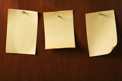 Parchment nailed on wooden board stock images