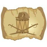 Parchment, Napoleons hat, drum and saber Stock Images