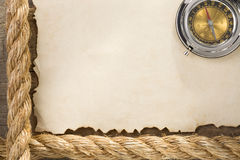 Parchment old paper background and ship ropes Stock Photos
