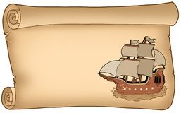 Parchment with old ship Stock Image