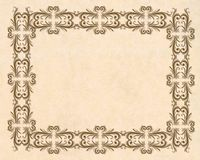 Parchment ornamental border Stock Photos