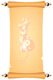 Parchment with ornaments of Taoism. Parchment with vintage ornaments Taoism, yin and yang symbols. Vector illustration Royalty Free Stock Photography