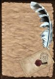 Parchment paper with feather Royalty Free Stock Images