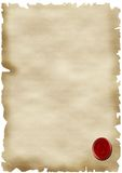 Parchment paper and seal. A background of parchment paper with a red seal Stock Photo