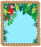 Parchment with parrot in jungle royalty free illustration