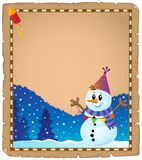 Parchment with party snowman theme 2 Royalty Free Stock Photography
