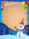 Parchment with party snowman theme 1 Royalty Free Stock Photos