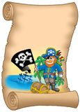 Parchment with pirate holding flag. Color illustration Stock Images