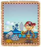 Parchment with pirate monkey on ship Stock Images