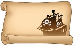 Parchment with pirate ship silhouette. Color illustration Stock Photo