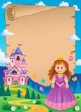 Parchment with princess near castle 2 Stock Photo