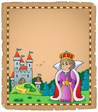 Parchment with queen near castle 1 Royalty Free Stock Photos