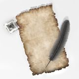 Parchment with quill adn inkpot paper texture background 3D illustration. Piece of parchemnt ink quill and inkpot 3D stock illustration