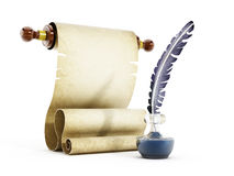 Parchment, quill and ink. Isolated on white background stock illustration