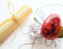Parchment and red rose. Stock Photo