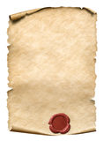 Parchment with red wax seal 3d illustration. Parchment with red wax seal isolated on white Stock Photography