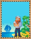 Parchment with sailor on beach. Eps10 vector illustration stock illustration