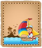 Parchment with sailor in boat 1 Royalty Free Stock Photo