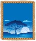 Parchment with savannah night scenery stock illustration