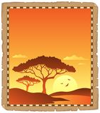 Parchment with savannah sunset scenery vector illustration