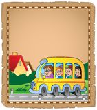 Parchment with school bus 1 Royalty Free Stock Photos