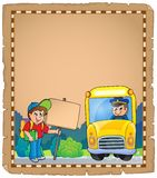 Parchment with school bus 3 Royalty Free Stock Image
