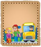 Parchment with school bus 4 Stock Photo