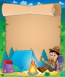 Parchment with scout boy theme 1 Stock Image