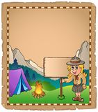 Parchment with scout girl and board Stock Photography
