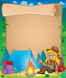 Parchment with scout girl theme 1 Stock Photos