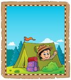 Parchment with scout in tent theme 2 Stock Photo