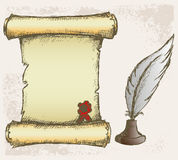 Parchment scroll and feather Royalty Free Stock Images