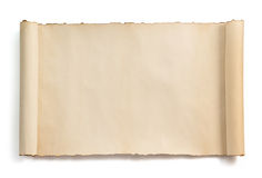 Parchment scroll isolated on white Royalty Free Stock Photo