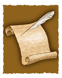 Parchment scroll and quill pen. A parchment scroll and a old-style feather pen Stock Images