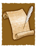 Parchment scroll and quill pen royalty free stock photography